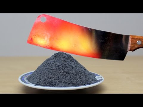 EXPERIMENT Glowing 1000 degree MEAT CHOPPER vs GUNPOWDER (100 Grams) #1