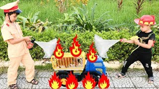 Trò Chơi Cảnh Sát Và Lính Cứu Hỏa Chữa Cháy Ô Tô ♥ Min Min TV Minh Khoa