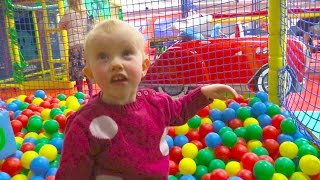 Indoor Playground Family Fun for Kids Part 2 with Spelling - Ball Pits, Inflatables, Climbing Wall