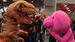 Barney Fights T-REX At Comic Con!