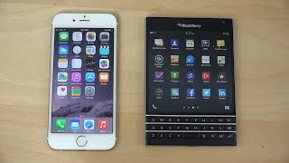 iPhone 6 iOS 8.1.2 vs. BlackBerry Passport - Which Is Faster? (4K)