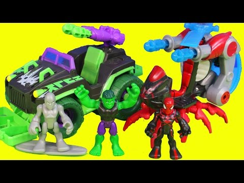 Marvel Super Hero Hulk Mud Stormin 4x4 Spider-man Arachno Blade Copter Silver Surfer Toys video