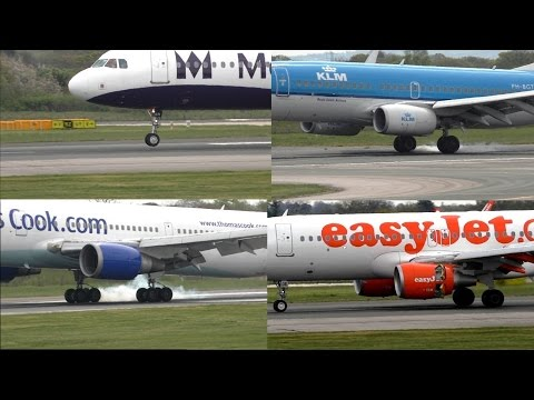 Slow Mo Compilation (All New) 100FPS 1st May 2015 Manchester Airport Aircraft Landing