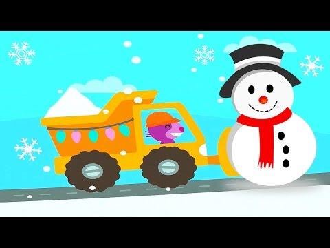 Новогодние Машинки Саго Мини для детей и строительство снежного замка. Новый Год и Машины Sago Mini
