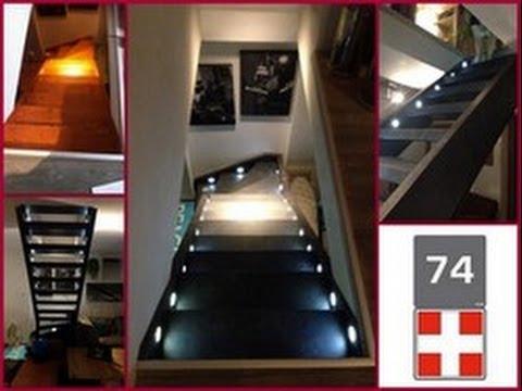 Habillage escalier ouvert d cor ardoise 74160 youtube for Moquette pour escalier bois