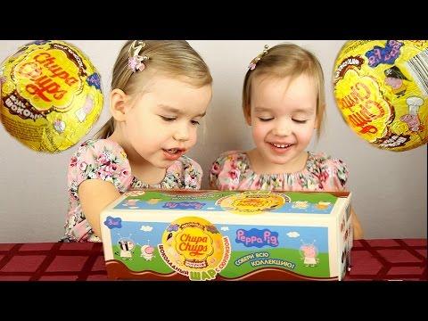 Свинка Пеппа Peppa Pig шоколадные шары Чупа Чупс Профессии киндеры игрушки Unboxing Chocolate Eggs