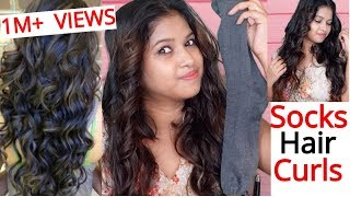 How to Curls Hair using SOCK || No Heat || Heatless curls