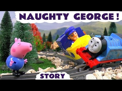 Peppa Pig English Episodes - Toy Trains Accident with Naughty George Paw Patrol and Thomas by TT4U