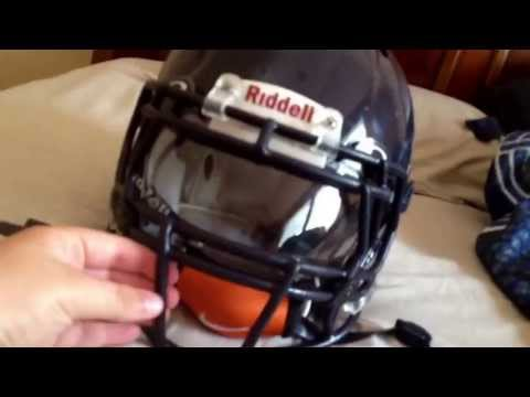 Blue revo speed helmet with robot facemask and Oakley visor