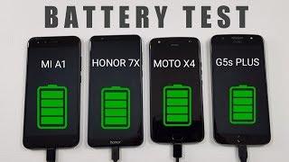 Mi A1 vs Honor 7X vs Moto X4 vs Moto G5s Plus Battery Test