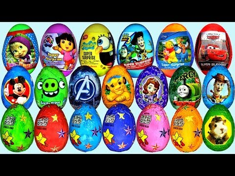 40 Surprise eggs, Маша и Медведь Kinder Surprise Mickey Mouse Disney Pixar Cars 2 Music Videos
