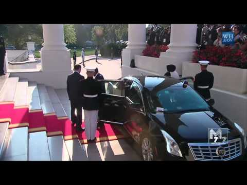 Somalia president Hassan Mohamud and spouse Sahro Xasan arrive at the White House Diner
