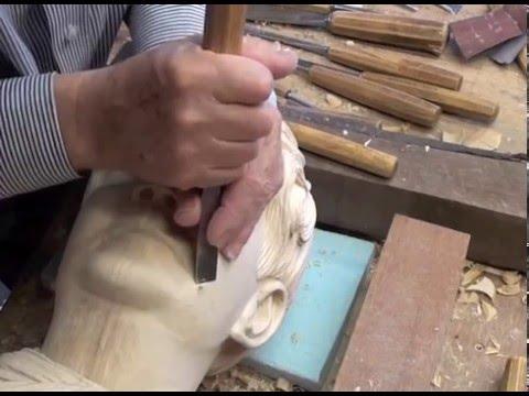 Wood carved  female head Limewood