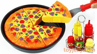 Play Doh Pizza Velcro Cutting Baby Toys with Microwave Oven Playset Learn with Kids Nursery Rhymes