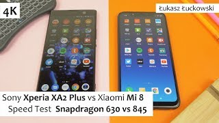 Sony Xperia XA2 Plus vs Xiaomi Mi 8  ❗❗❗ | Speed Test |  Snapdragon 630 vs Snapdragon 845