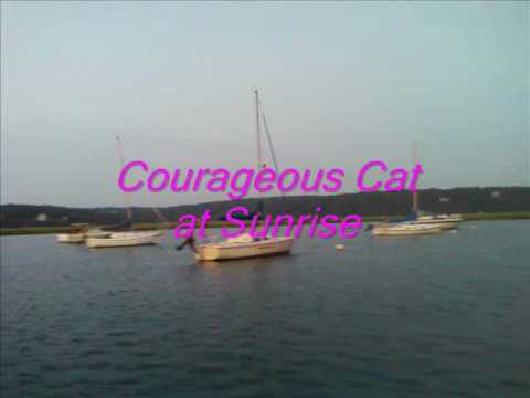 Catalina 22 Morning Light sailing at Sunrise on Courageous Cat another great Sail