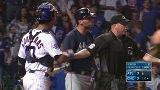 ATL@CHC: Francoeur takes exception to inside pitch