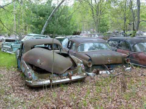 Abandoned cars in forgotten junkyard