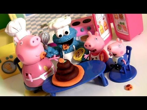 Play Doh Peppa Pig Cooking with Chef Cookie Monster 11-Piece Kitchen Playset Nickelodeon Dough
