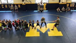 Michigan Wrestler Adam Coon vs 50 Kids in Tug of War