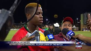 GUYANA AMAZON WARRIORS RECORD THEIR FIRST WIN OF THE 2018 CPL TOURNAMENT AT PROVIDENCE
