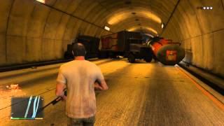 5 Minutes Grand Theft Auto V highway Semi Gasoline Truck Tunnel pileup/explosion/destruction.