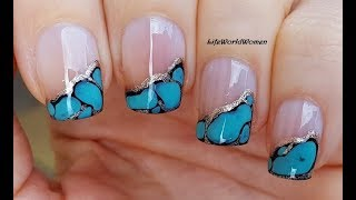Gemstone Nails: TURQUOISE SIDE FRENCH NAIL ART
