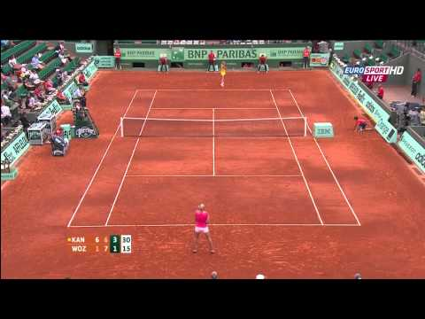 Kaia Kanepi Caroline Wozniacki 3rd round French Open 2012 part 2