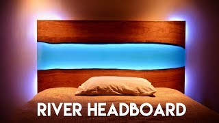 Live Edge Epoxy River Headboard (or Table) with LED Lights // How To Build - Woodworking