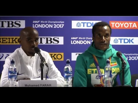 London 2017: Post 5k Race Press Conference With Muktar Edris And Mo Farah