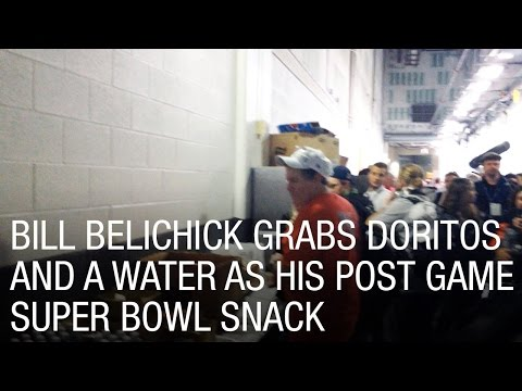 Bill Belichick Grabs Doritos and a Water as his Post Game Super Bowl Snack
