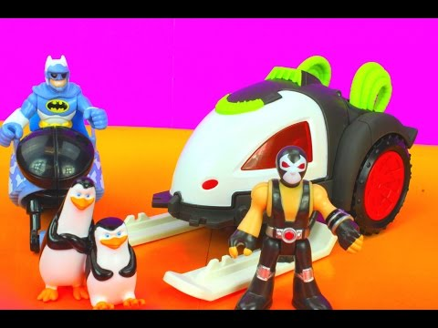 Imaginext Bane Battle Sled Batman gets saved by Penguins and Gotham City Robin