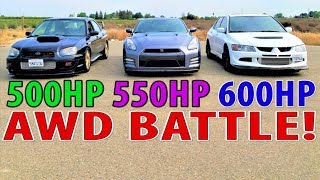 GTR vs EVO & STI : Who is the Japanese AWD King of the street?