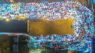 Stunning drone footage of enormous Hainan traffic jam after Spring Festival