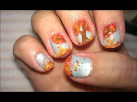 Lo's Autumn Tree - Nail Art Tutorial