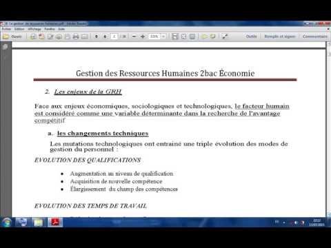 6- La gestion  de ressources humaines 2bac Économie