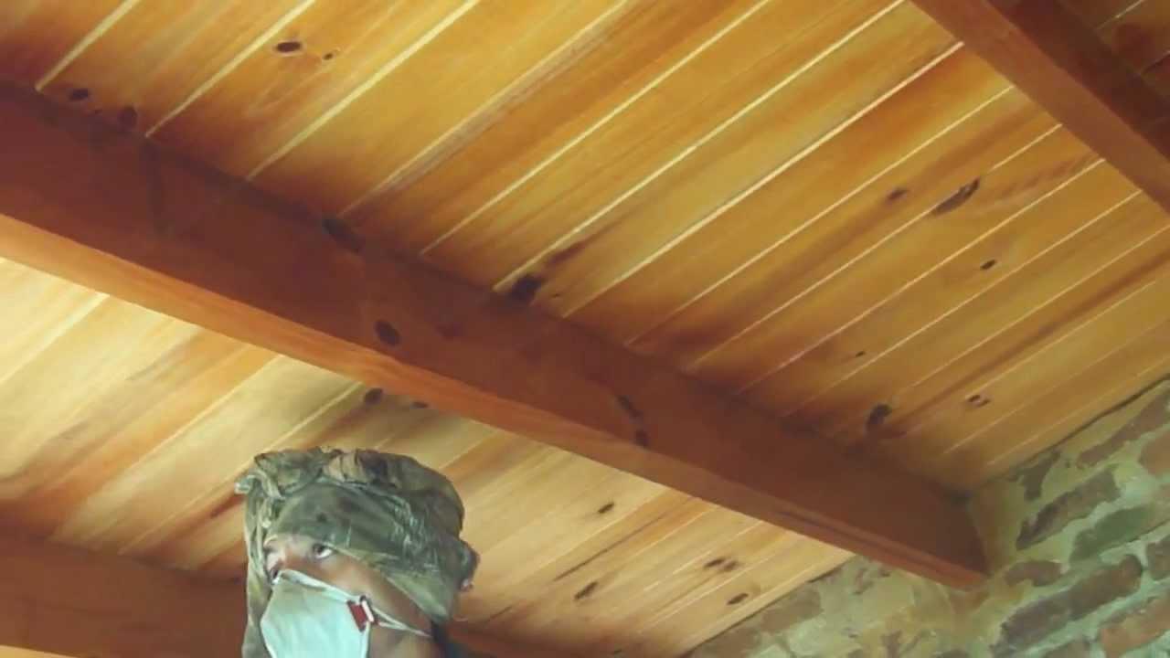 Adiabatic 3000 pintando techo de machimbre youtube - Pintar lamparas de techo ...