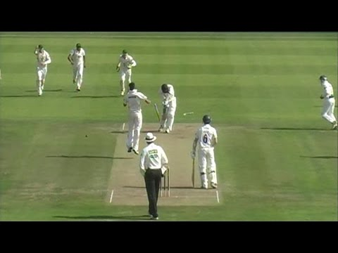 Atif Sheikh claimed a hat-trick in only his second LV= County Championship game for Leicestershire as they fought back on the second day against Gloucestersh...