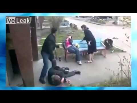 Уличная драка  Драка алкашей  Пьяные выясняют отношения  Женщина отомстила
