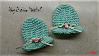 CROCHET How To #Crochet Easy Newborn Scratch Mittens #TUTORIAL #297 LEARN CROCHET
