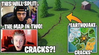 STREAMERS Reacts TO NEW Earthquake *CRACKS* Splitting The Fortnite Map In Two! (Fortnite Moments)