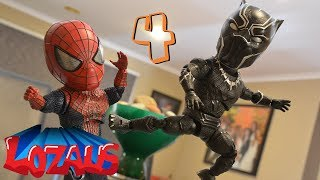 BABY SPIDERMAN STOP MOTION PART 4 with Black Panther