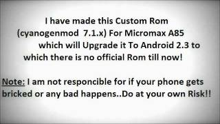 Upgrade Micromax A85 To Android 2.3 ( Custom Rom)