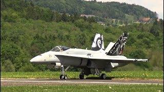 F/A-18 TOP SPEED LOWPASS OVER A LANDING RAINBOW HAWKER HUNTER RC JET