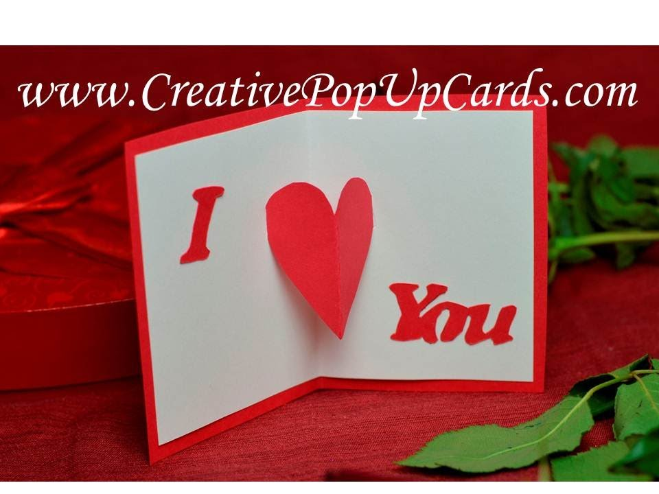 Easy and Quick Valentine's Day Pop Up Card: Center Heart - YouTube