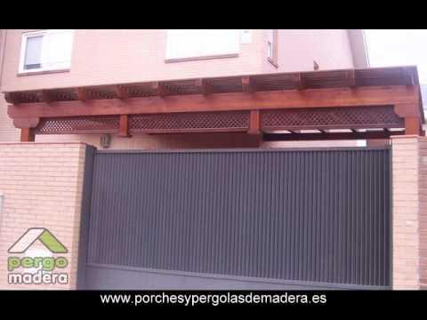Marquesinas de madera pergomadera youtube for Marquesinas para puertas de entrada