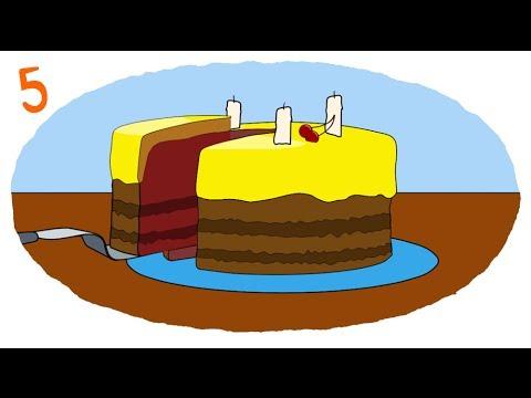 Мультик - Раскраска. Учим Цвета. - Торт, Подарки, Фрукты и Фруктовый Сок