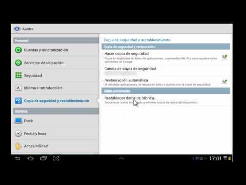 Cómo restablecer la configuración de fábrica en su Tablet android (pedido)