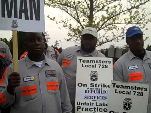 Republic waste workers STRIKE in McDonough, GA 4-15-13