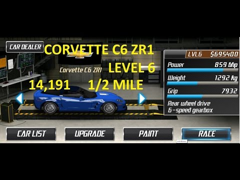 Drag Racing Chevrolet Corvette C6 ZR1 Level 6 Tune 14.191 1/2 Mile